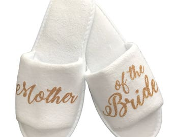Wedding Party Slippers- White and Gold