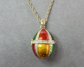 Colorful Enamel & Rhinestone Egg Locket Pendant Necklace    OA7