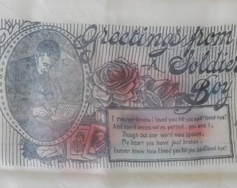 World War I Silk Souvenir Handkerchief w/ 'Greetings From A Soldier Boy'