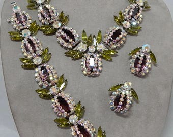Vintage JULIANA Amethyst Pineapple Necklace, Bracelet & Earrings Set Parure