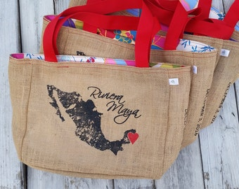 5+ Riviera Maya Mexico - Or Add Your City - Custom Destination Wedding Welcome Beach Tote Bags - Handmade Favors or Bridesmaids Gifts
