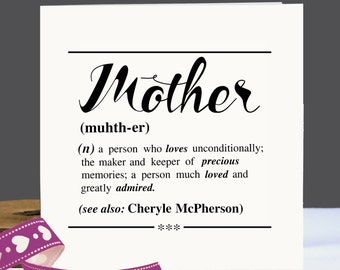 Personalised Mother's Day Card|Birthday Card for Mum|Mother's Day Card|Card for her|Cards for Mum|Mum thank you card