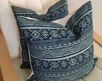 2 Tribal graphic denim dark blue printed fabric Cushions