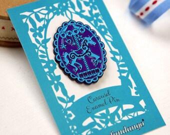 Unicorn Carousel Enamel Pin, Merry Go Round Purple and Blue Lapel Pin, sku_EP002