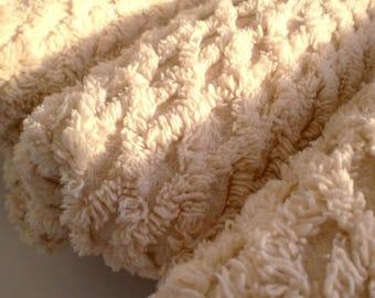 Cotton chenille fabric /  diamond pattern / Fat Quarter 18x25