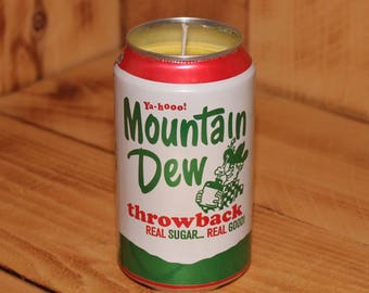 Hand Poured Soy Candle in Handmade Upcycled Mountain Dew Throwback Soda Can
