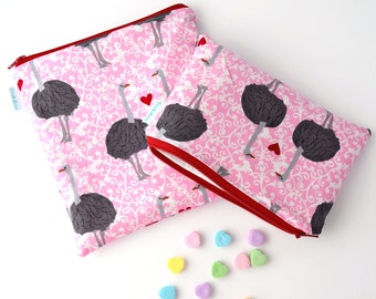 Valentine Reusable Bag Set of Two, Ostriches on Pink, Handmade, Zookaboo