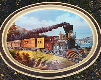Vintage Large Train Tin Container Currier and Ives Lithograph American Express Train 1964 Across The Continent 1982 Sunshine Biscuits Tin