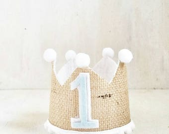 Burlap Crown | Prince Party | King Party Hat | 1st Birthday| Baby Blue | Little Prince Birthday | First Birthday Crown | Boy Birthday