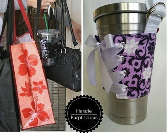Cup Corset - Handle - Purple Damask - Cup Holder - Cup Carrier - Cup Cozy - Coffee Cozy - Drink Holder - Drink Carrier
