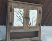 Barn wood  Medicine  cabinet with open shelf made from 1800s weathered rustic  barn wood