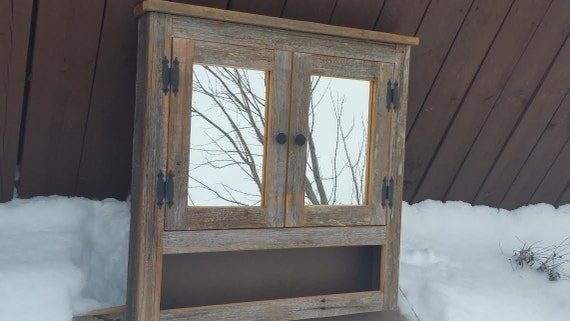 Barn wood medicine cabinet with open shelf made from 1800s for Barnwood medicine cabinet