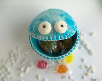 Felt Monster - Candy Bowl - Soft Container - Turquoise