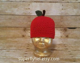Apple Hat, Red Apple Hat, Apple Harvest Beanie, Golden Delicious Apple, Little Red Apple