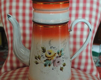Enameled  French COFFEE POT Shaded in Red Hand painted ROSES