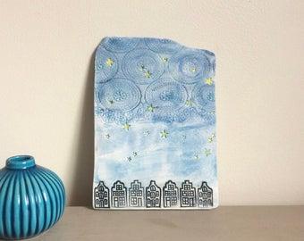 Shelf Art, Ceramic Art Tile, Starry Night Ornament, Dutch Houses Tile, Ceramic plaque, Galaxy of Stars Art, Ceramic Wall Art, Home decor.