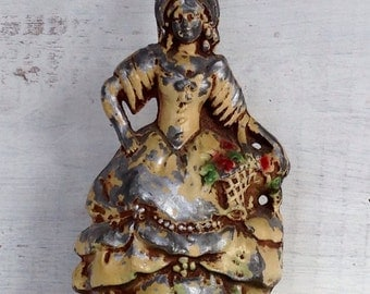 Vintage Antique Shabby Chic Chippy Metal Lady with Flower Basket Lamp Base Figure