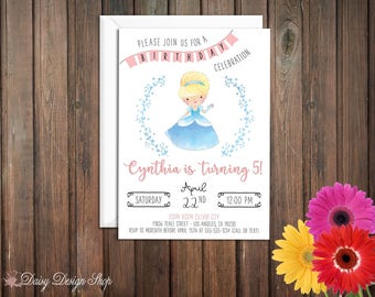Birthday Party Invitations - Princess Cinderella and Laurel in Watercolor Style - Set of 20 with Envelopes