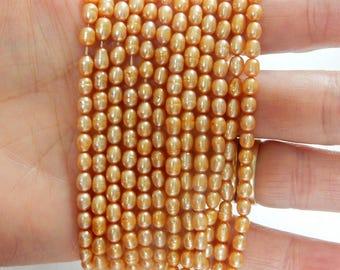 Golden yellow rice  freshwater  pearls (4-5mm), FULL STRAND