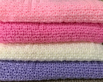 Knitted Baby Afghan,Throw Blanket, Light Pink, Bright Pink, Natural , Baby Lavender