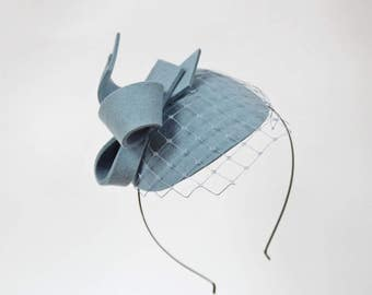 Light Blue  Wool Felt  Fascinator, Mini Hat with the Veil, Wedding fascinator