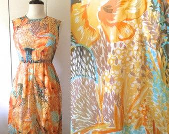 Japanese vintage dress, bold floral print chiffon, XS