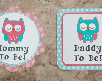 Owl theme button pin name tag- salmon and aqua- for Baby Shower or Birthday Party