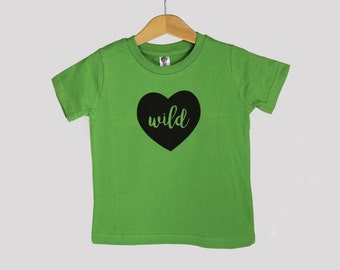 Kids organic cotton t-shirt, wild heart shirt in green or purple, kids Valentine's Day clothes, ready to ship