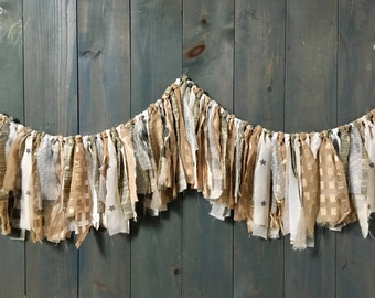 Gold, Cream and Silver Fabric Fringe Garland, Wedding, Baby Shower Decor, Nursery Wall Hanging, Boho