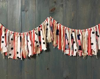 Coral Stripe and Black & White Polkadot Fringe Garland, Wedding, Baby Shower Decor, Nursery Wall Hanging, Boho