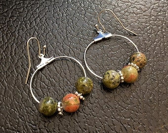 Unakite Gemstone Hoop Earrings