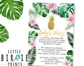 Tropical baby shower book instead of a card insert cards - Girl Luau baby shower Pineapple baby shower book instead of a card inserts Palms