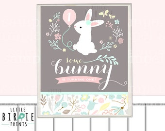 BUNNY BIRTHDAY Sign SOME Bunny Is Turning One - Vintage bunny birthday party Bunny first birthday decorations Bunny first birthday party