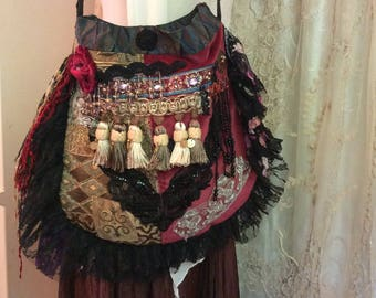 Beaded Fringe Bag, handmade OOAK bohemian gypsy purse, thick upholstery velvet chenille jacquard fabric, earth tones buttons embellish