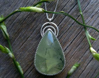 Sterling Silver Prehnite Necklace Stone Green Pendant Gemstone 925 Jewlery