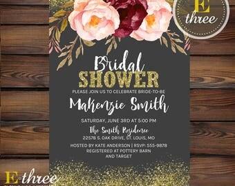 Blush Bridal Shower Invitation - Pink, Merlot, Gold Confetti Wedding Shower Invite - Glitter and Watercolor Flowers