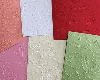 EMBOSSED CARDSTOCK 51/2 x 51/2 inch SQUARE 6 x Mixed Sheets