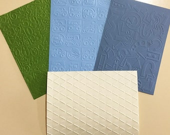 EMBOSSED CARDSTOCK 5 x 7 inches 4 pack Boys Pack 2