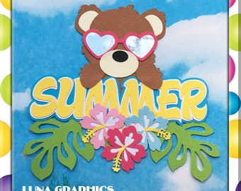 SUMMER BEAR Embellishments Paper Piecing card making and scrapbooking