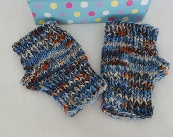 Childrens Hand Knitted Fingerless Gloves - Wool Mittens - Kids Blue Wristwarmers - Boys Fingerless Mittens - Handmade Gifts for Children