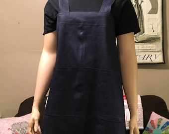 Plus Size Apron, Japanese Style Apron, Plus Size Crossback Apron, Denim Apron, No ties Apron, Pinafore, Jumper
