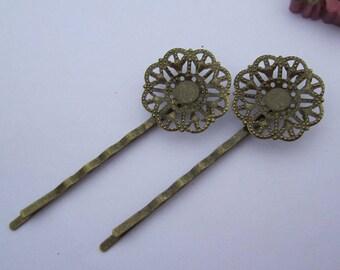 Pin, Hair pin, Boby Pin, 10Pcs Antique Bronze Hair pin hair Clips, 20mm filigree flower tray pin, round bezel tray pin, blanks pin 55mm