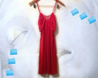 70s Red Disco Glam Ruched Draped Lace Inset Strappy Dress size Medium