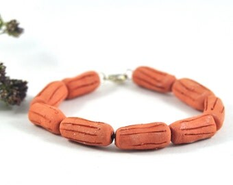 Handmade Diffuser Bracelet Ceramic Jewellery Aromatherapy Jewelry Orange Tangerine Brown Tube Beads Rustic