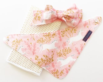 Baby Girl Gift Set - Metallic Gold Unicorns - Baby Shower Gift - Unicorn Fabric Bow Headband - Bandana Bib - Unicorn Bib - Unicorn Baby
