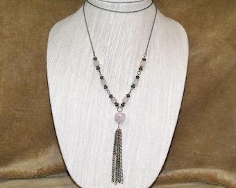 Rose Quartz Antique Bronze Tassel Necklace pink brown bohemian boho hippie chic indie art jewelry