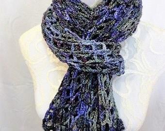 """cashmere silk merino blend lacy scarf """"spring garden"""" purple lavender green"""