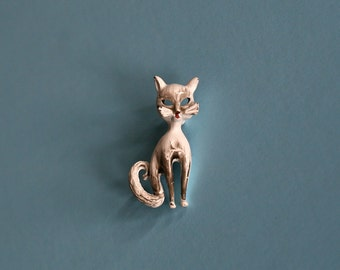 vintage cat pin / animal brooch