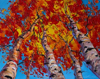 Autumn Birch Forest Landscape Painting Oil on Canvas Textured Palette Knife Modern Original Tree Art Seasons 16X20 by Willson Lau