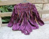 M-L Comfy Cotton Blouse II - Dark Purple